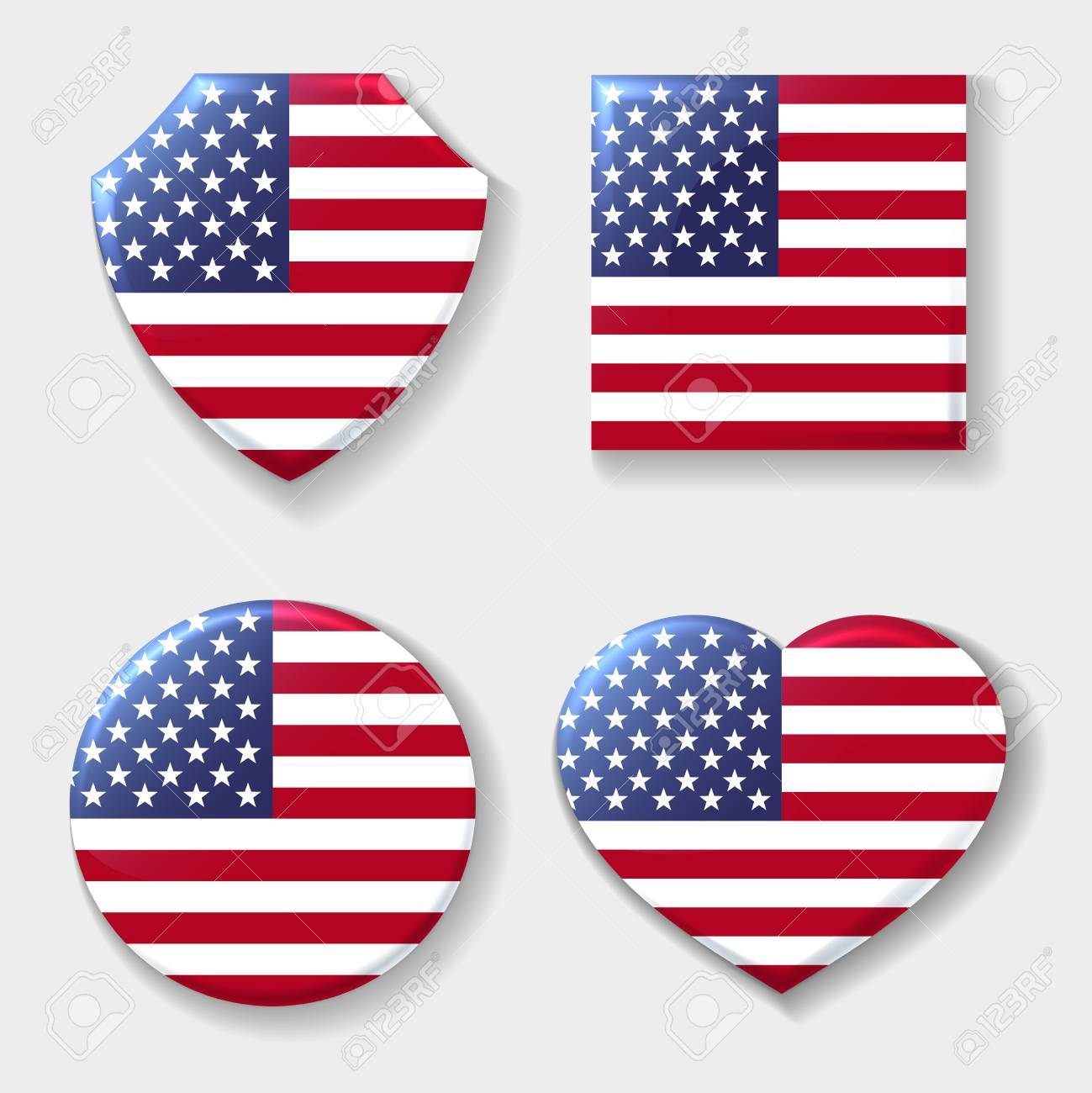 Usa National Flag Emblem Set Patriotic Logo American Manufacturing