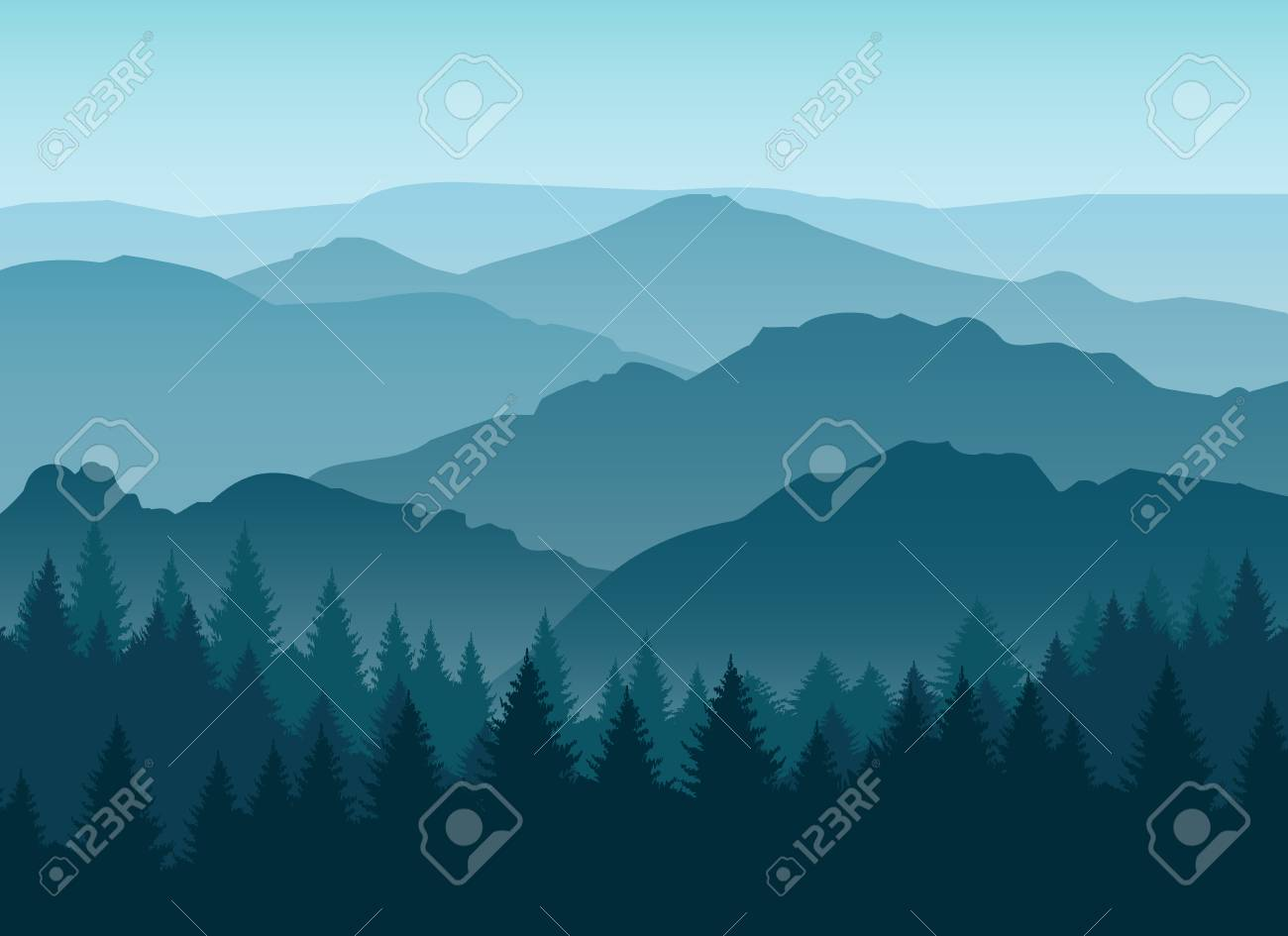 Vector misty or smokey blue mountain silhouettes background. Morning layered mountains with mist - 87567847