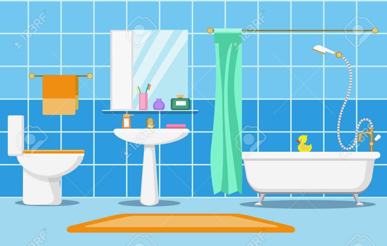 Clean Beautiful Bathroom Interior With Shower, Bath And Bathroom ...