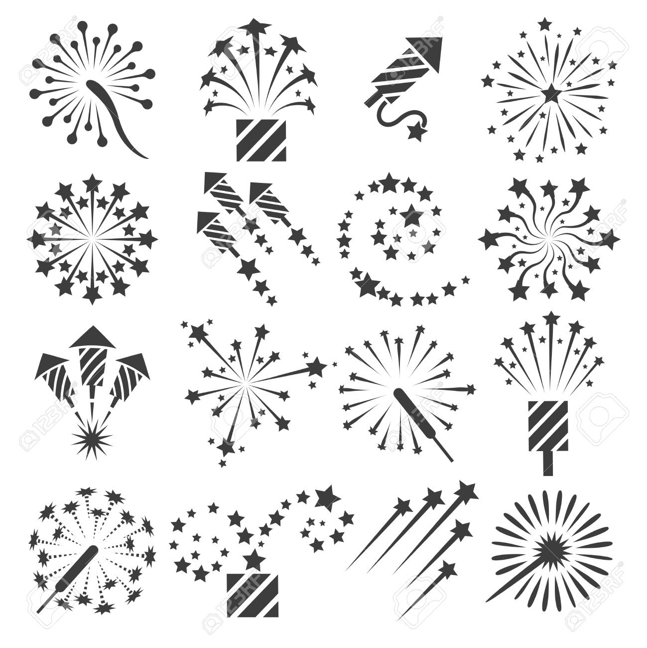 Icônes De Feu D Artifice Célébration De Feux D Artifice Parti Signes Et Dessin Vectoriel Célébrant Les Symboles De Pétard Isolés Sur Fond Blanc