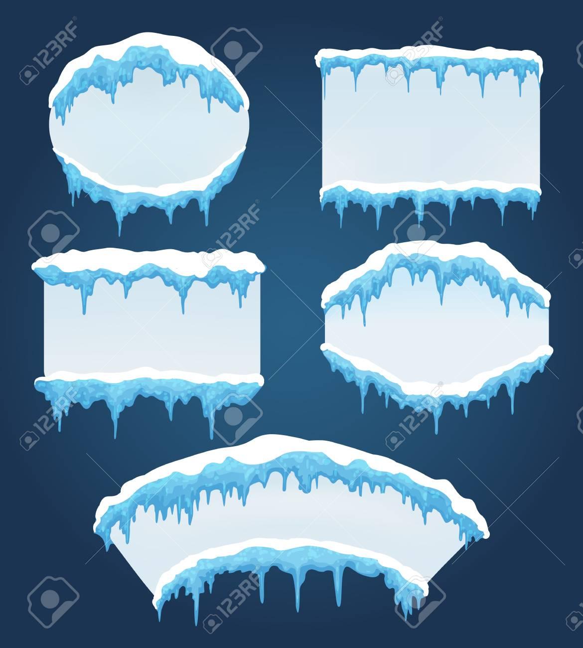 Eiszapfen Boards. Vector Gefrorene Eiszapfenrahmen Für Den Verkauf ...