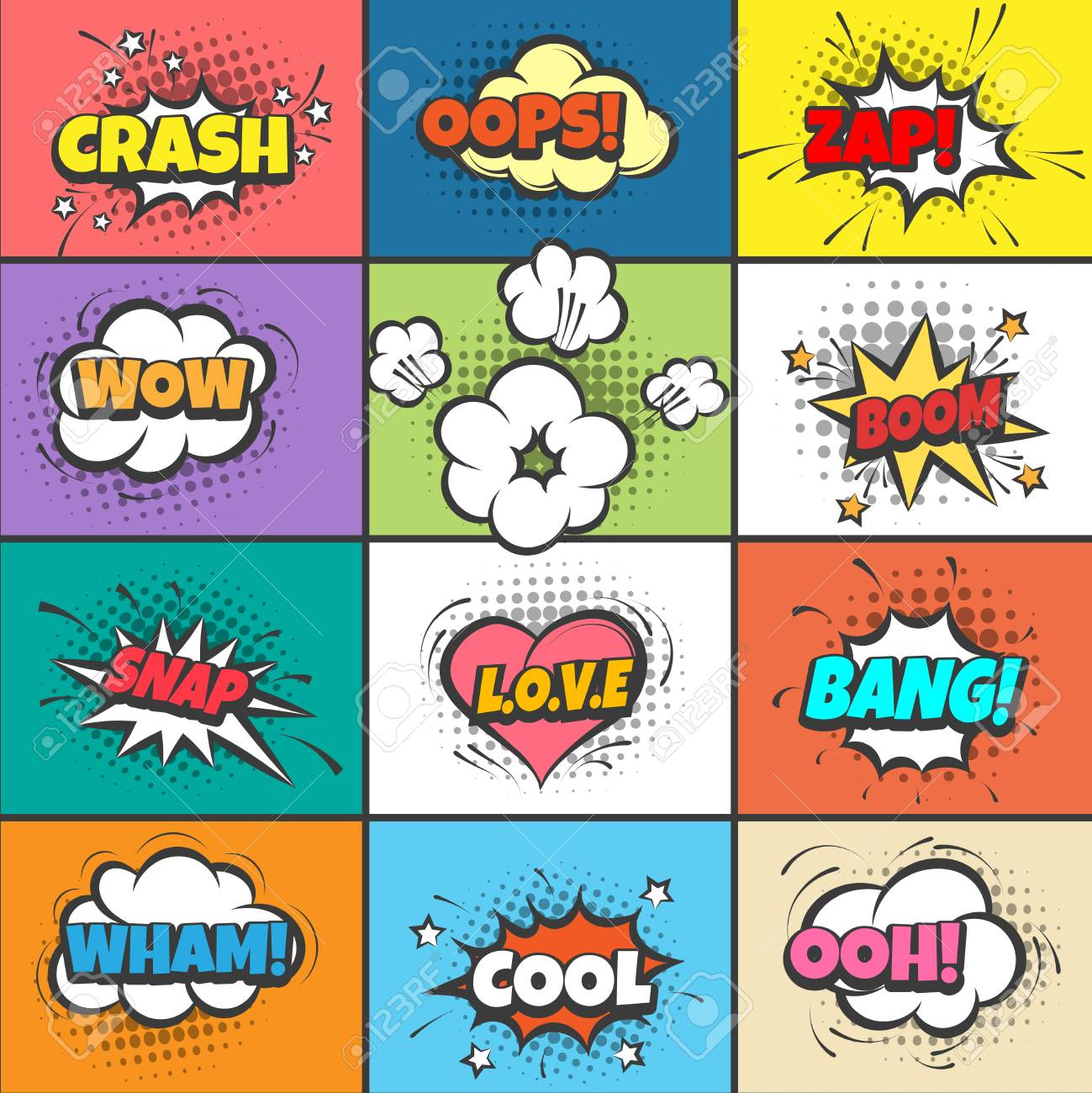 Comic pow bubbles  Cartoon bang and crash, wow and boom, oops