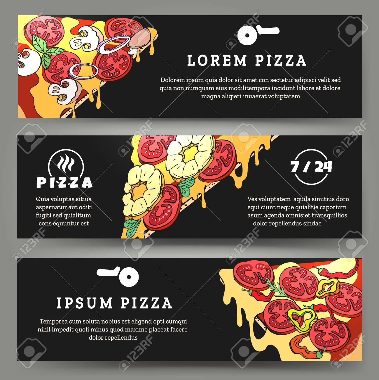 Volantes De Pizza. Banners Plantillas Con Rebanadas De Pizza En El ...