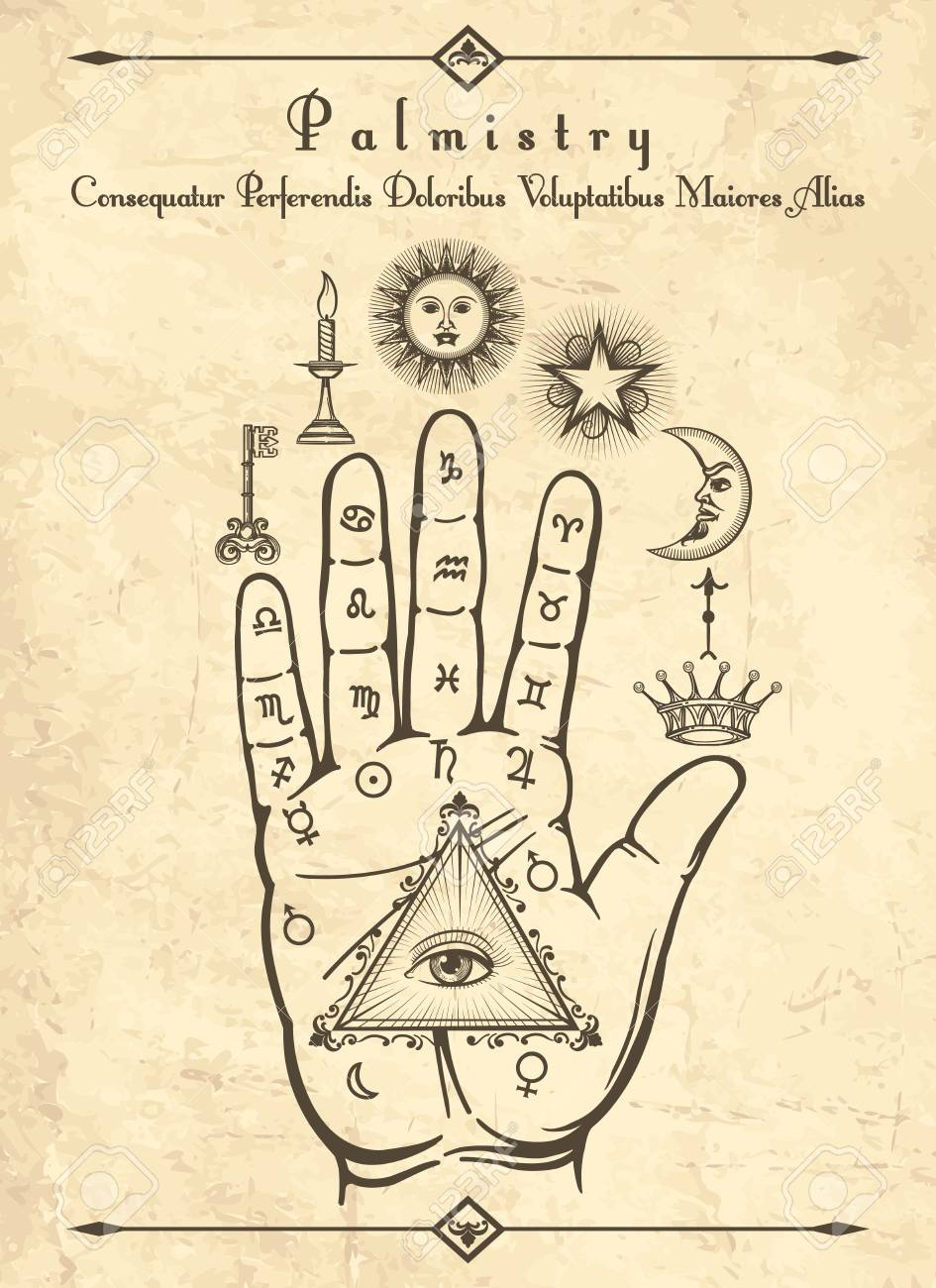 Vintage palmistry. Esoteric occult symbols on hand, palm of prophecy retro vector illustration - 103268909