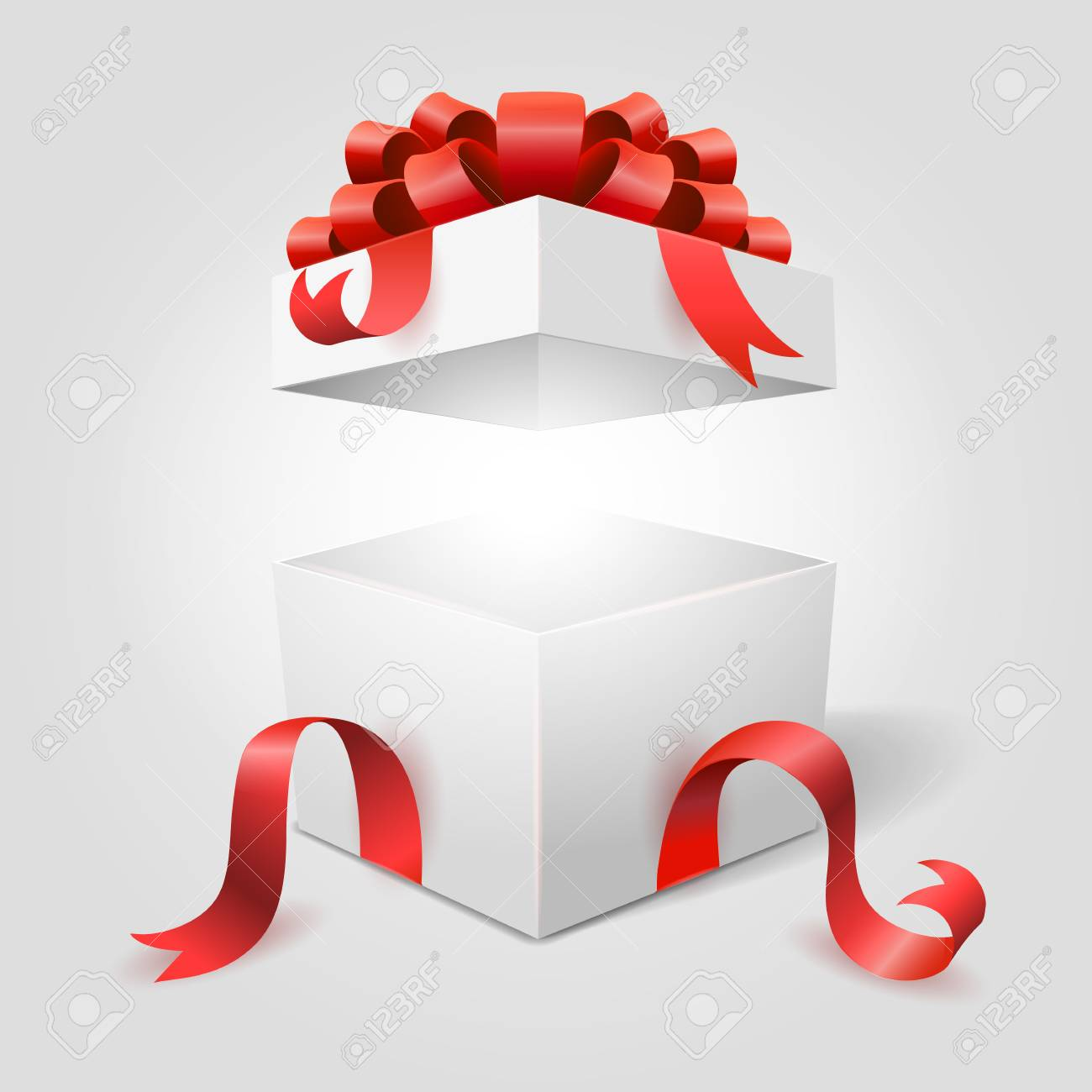 Surprise Box Open Clip Art Wiring Diagrams Green Usb Switch Circuit Diagram Projects Nonstopfree Gift White With Red Ribbon For Christmas Rh 123rf Com