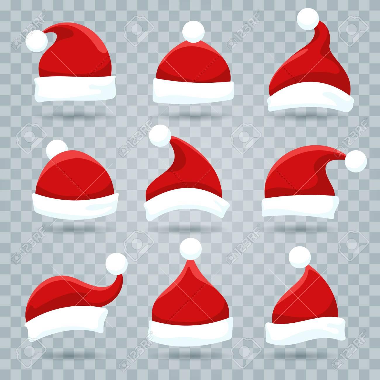 Santa hat. Christmas costume nicholas hats isolated on transparent..
