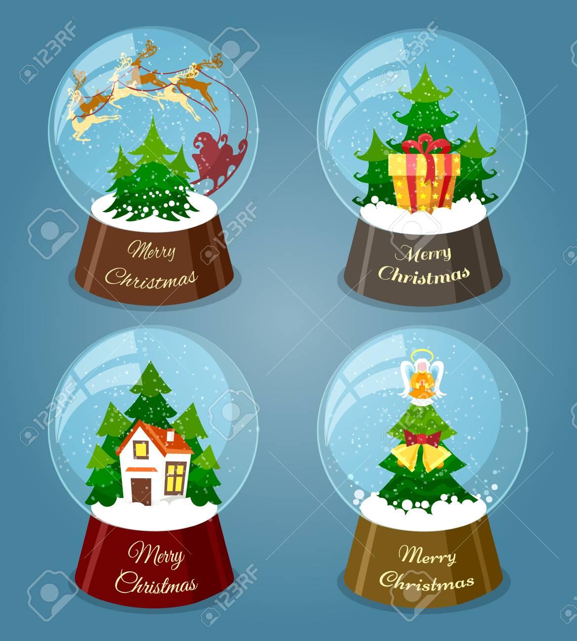 Christmas Snow Balls. Xmas Glass Snowglobes With Santa And Christmas ...