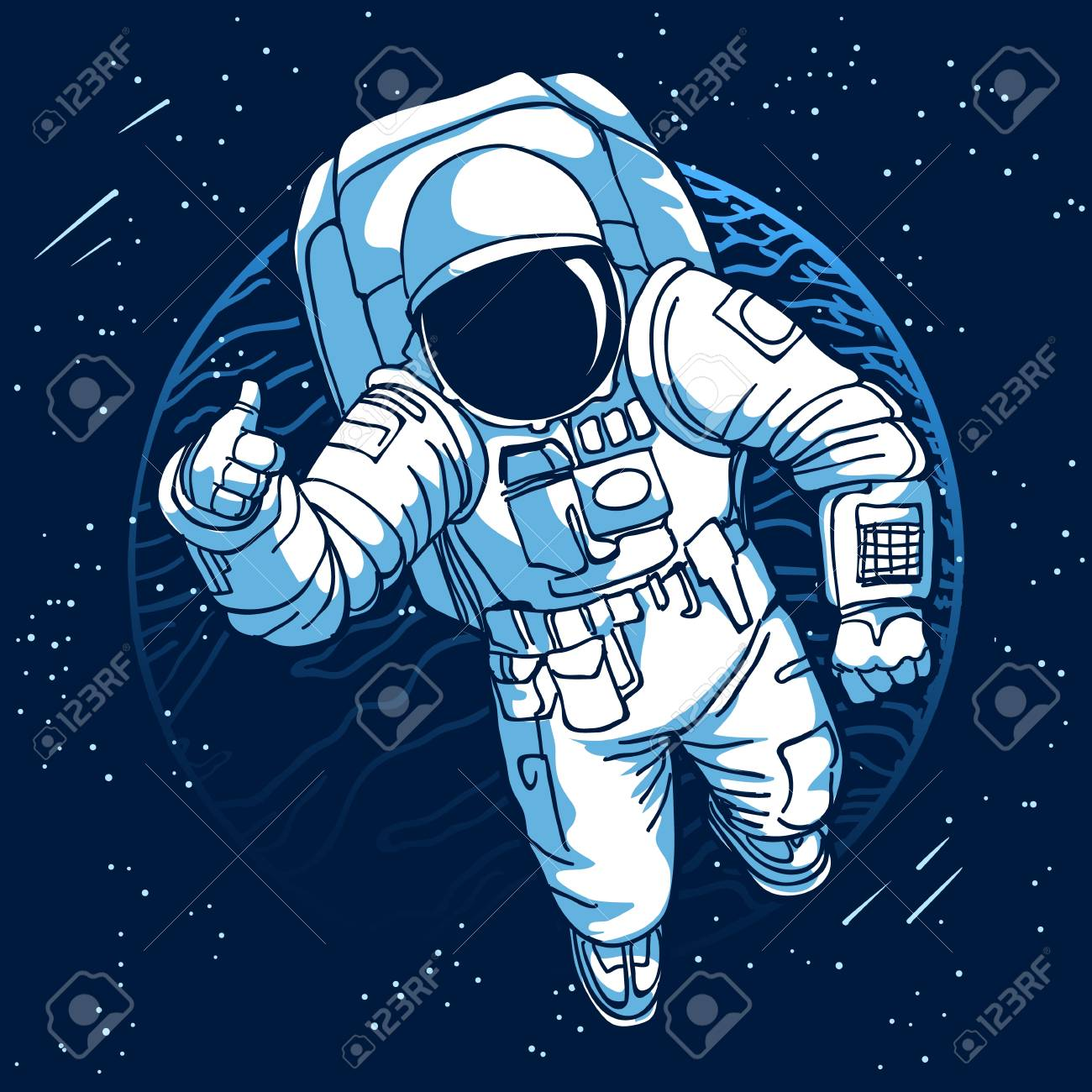 Astronaut. Spaceman in space on moon or earth planet background vector illustration - 110263122