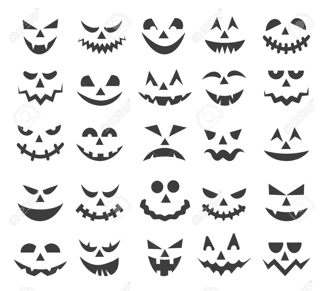 Halloween Ghost Faces Scary Pumpkin Devils Smiles Spooky Jack