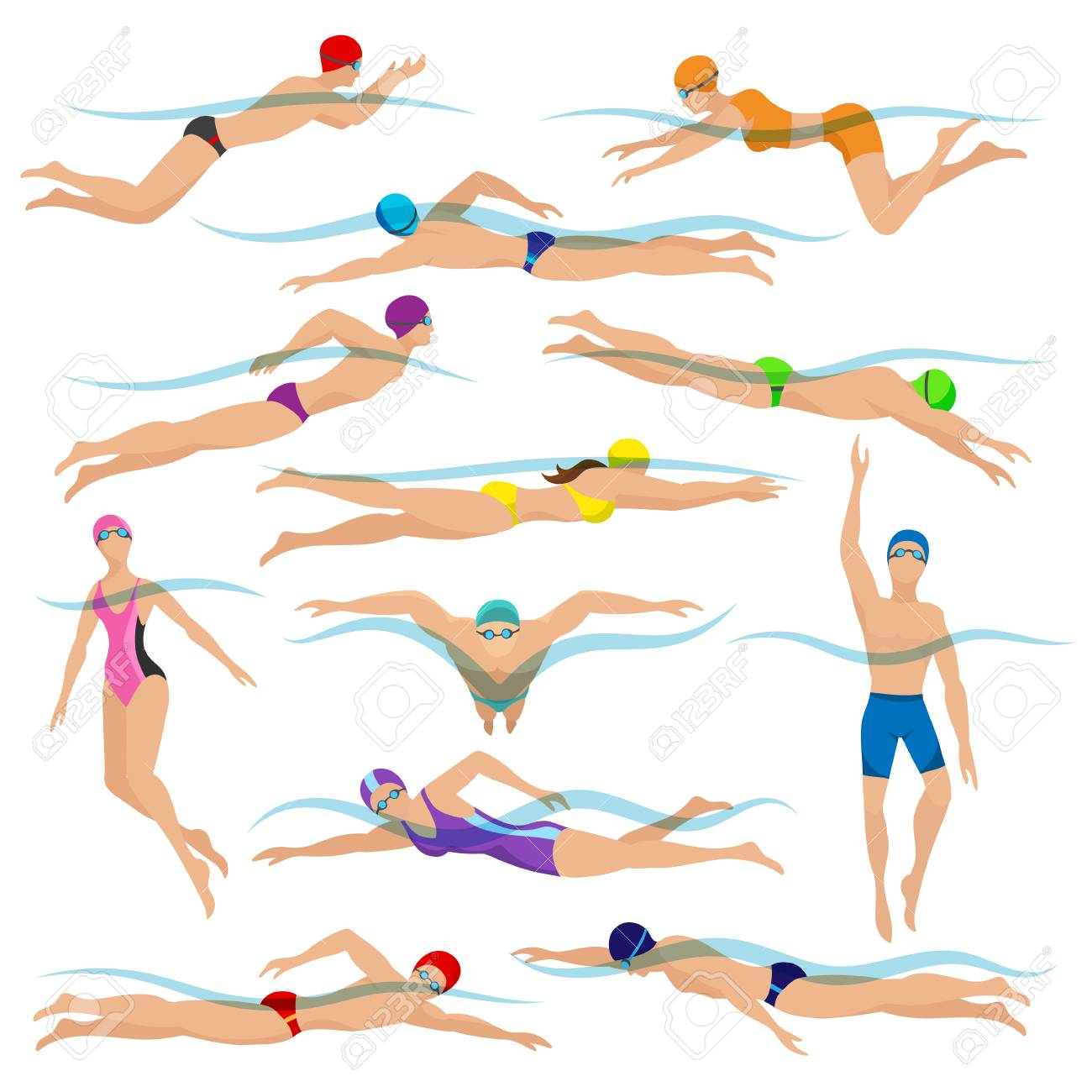 Swimmers vector. Various characters swimming people in action poses, sport man swim action - 126481149