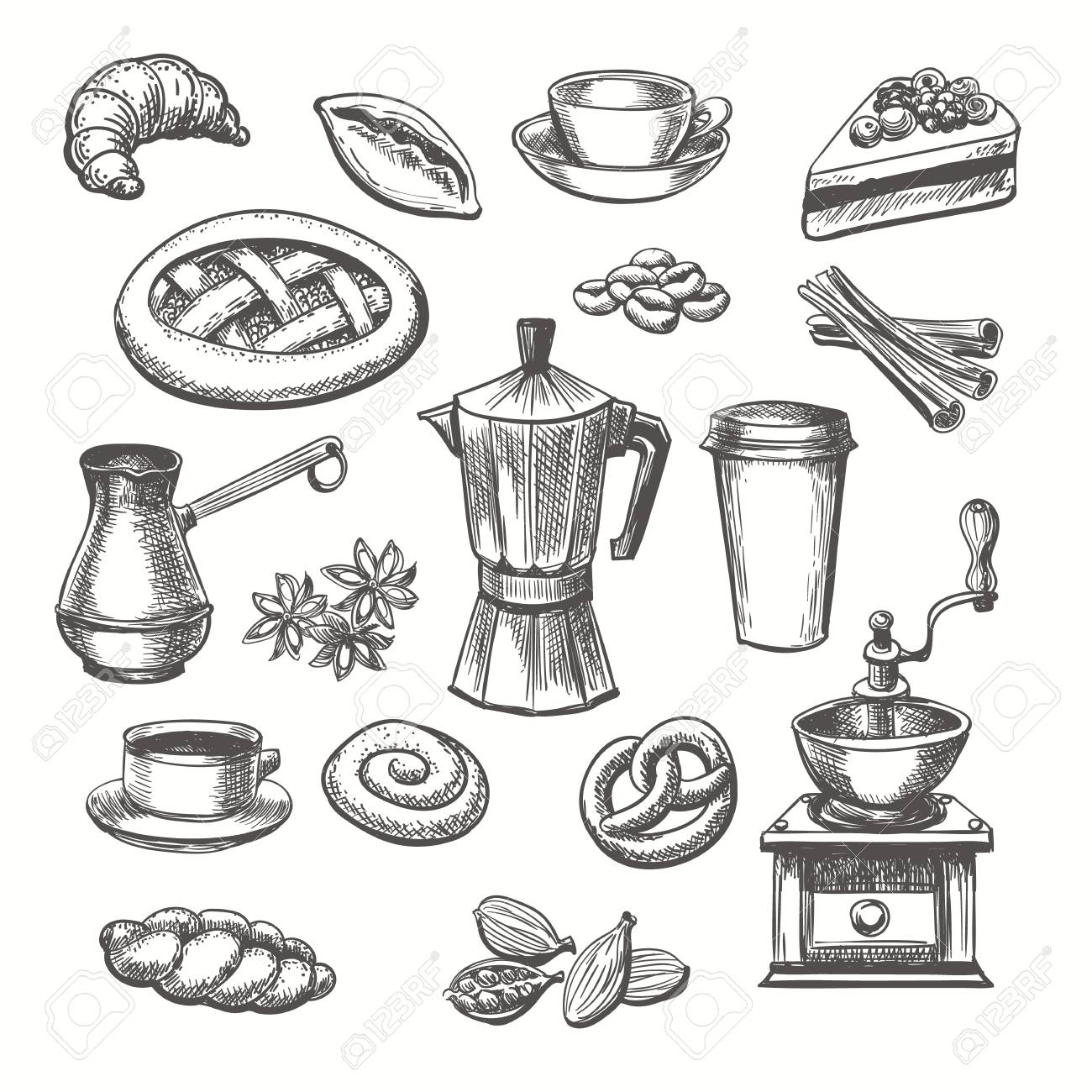 Vintage desserts and coffee sketch. Vector hand drawn sketch sweets and coffee cup and pot set - 126082778