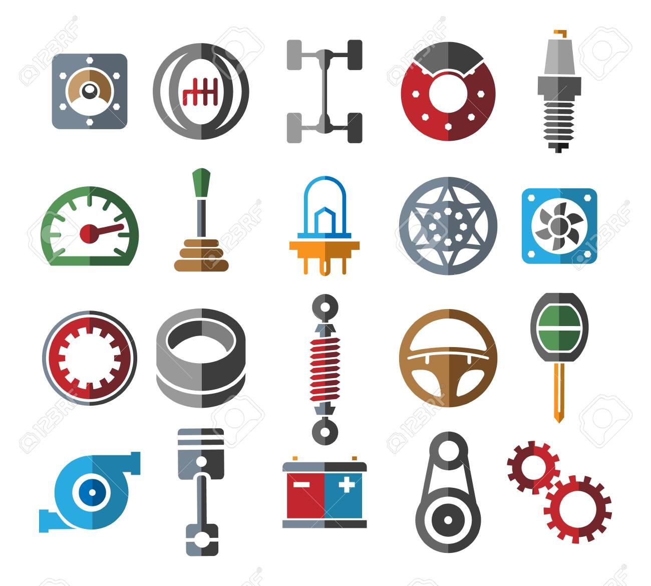 Automotive Parts Icons Color Vehicle Spare Part Set And Service Royalty Free Cliparts Vectors And Stock Illustration Image 125383879