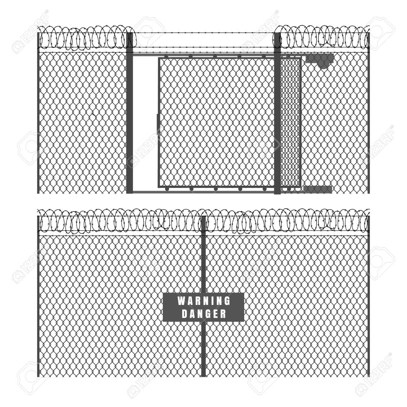 Security fence and gate. Metal fences with barbed wire isolated on white background, vector wires chain link mesh protection inclosure - 124330635