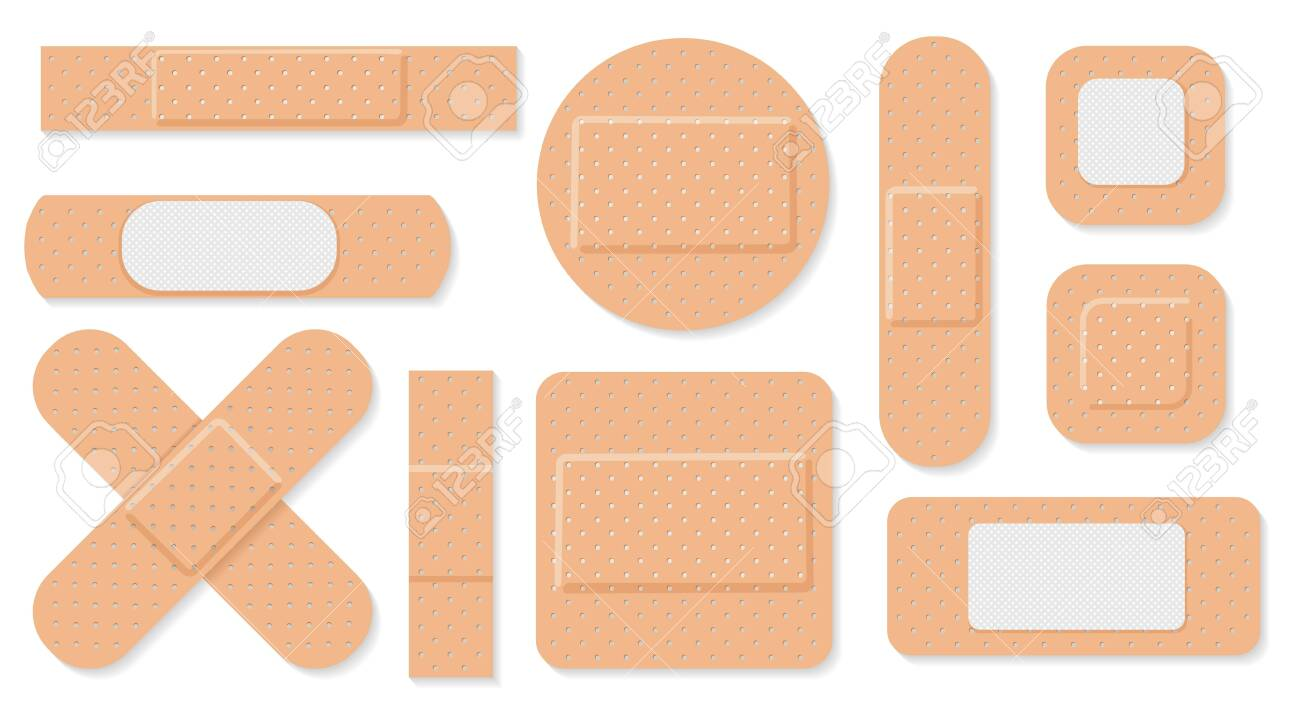 Medical plaster. Medical plasters isolated on white background, wound plasterer or bandaged patch, vector adhesive health care object - 123227886
