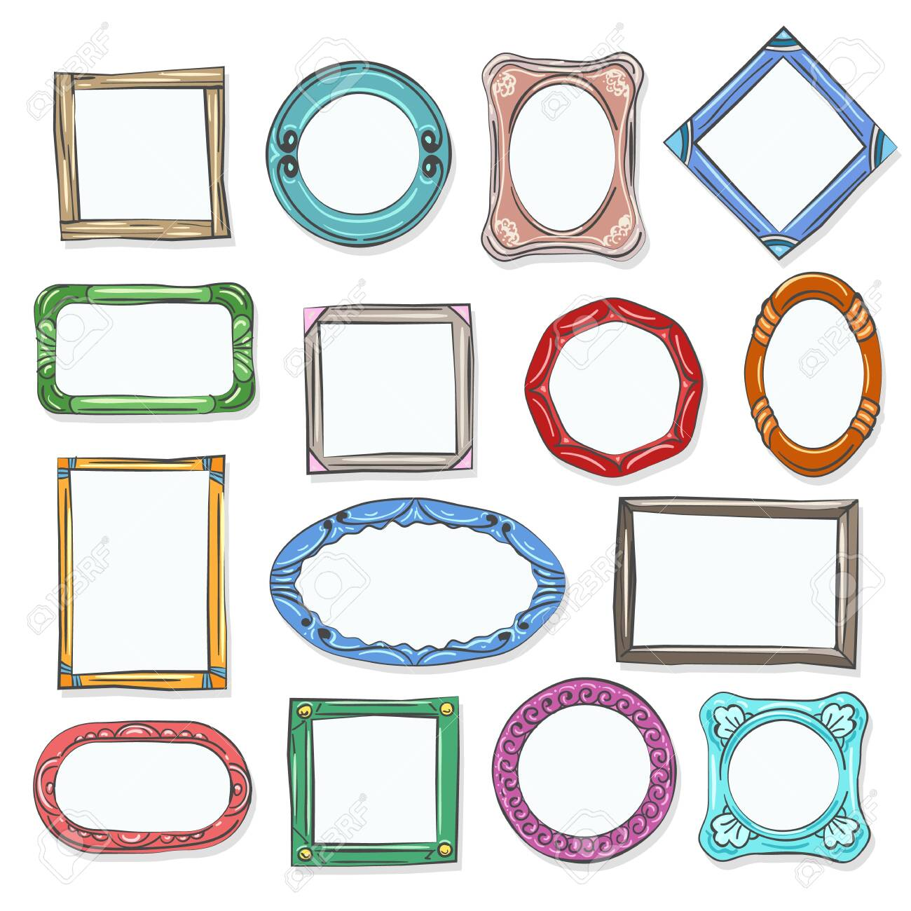Circle cartoon photo shapes. Decorative doodle picture frames, hand drawn round cartoon photo pictures for scrapbook, vector illustration - 123639319