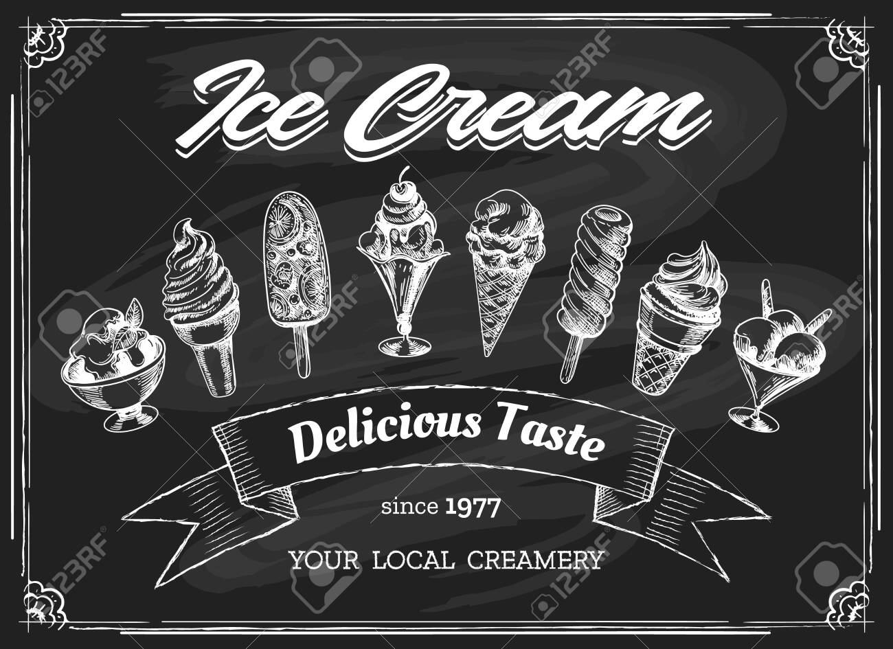 Ice cream chalk board drawing. Eskimo cream sketch on chalkboard background, icecream shop or restaurant dessert menu vector hand drawn illustration - 124559942