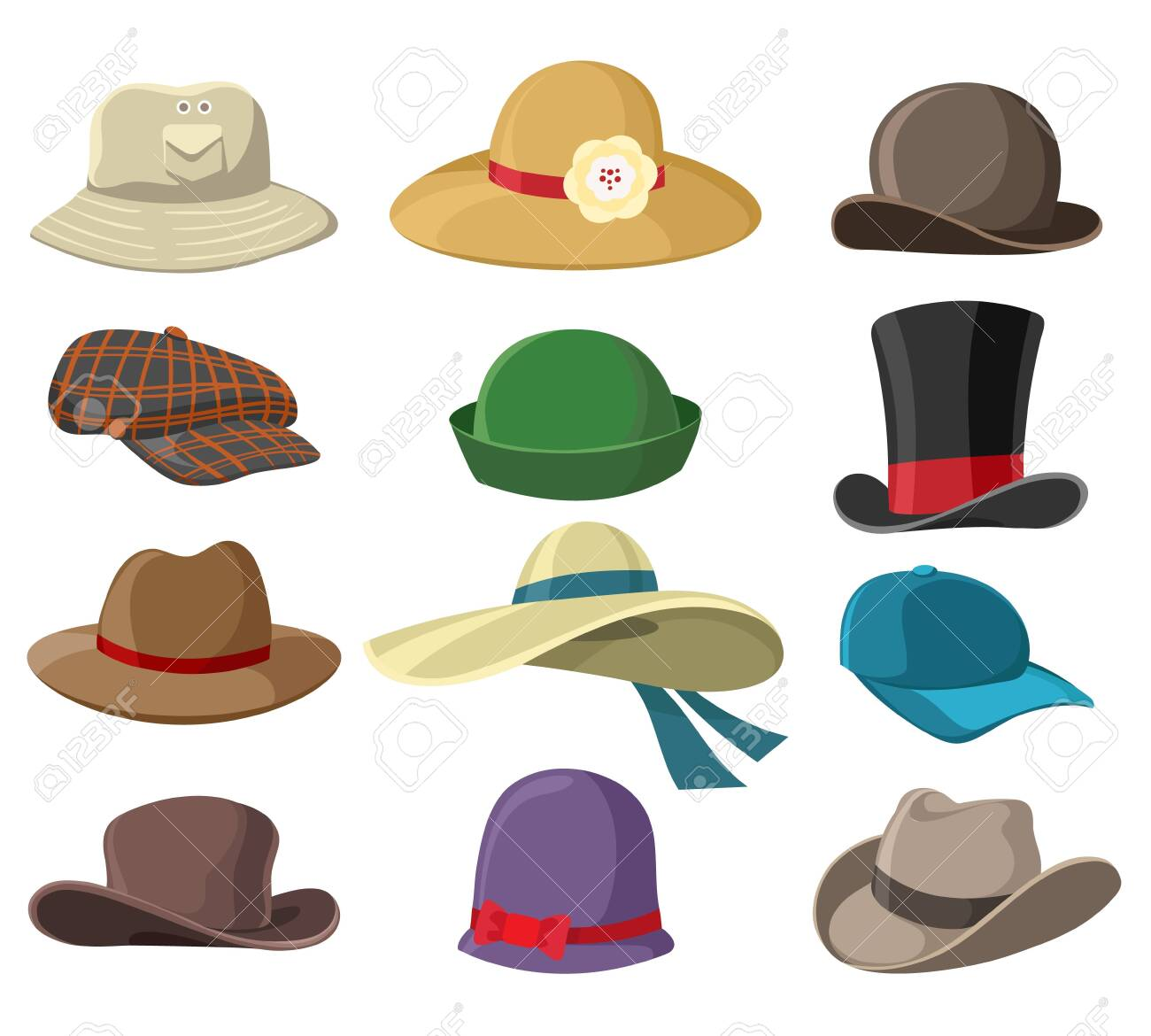 Hats and headwears. Hat images isolated on white background, headgear vector illustrations for man and woman, cap headgears for ladies and gentlemen - 128775005