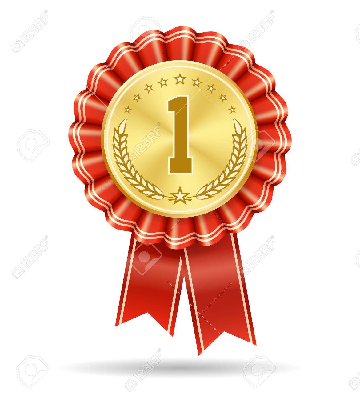 Winner gold medal badge. No 1 vector sign isolated on white, first place medallic symbol, win product number one honor ribbon design, success trophy or leadership achievement seal - 132166120
