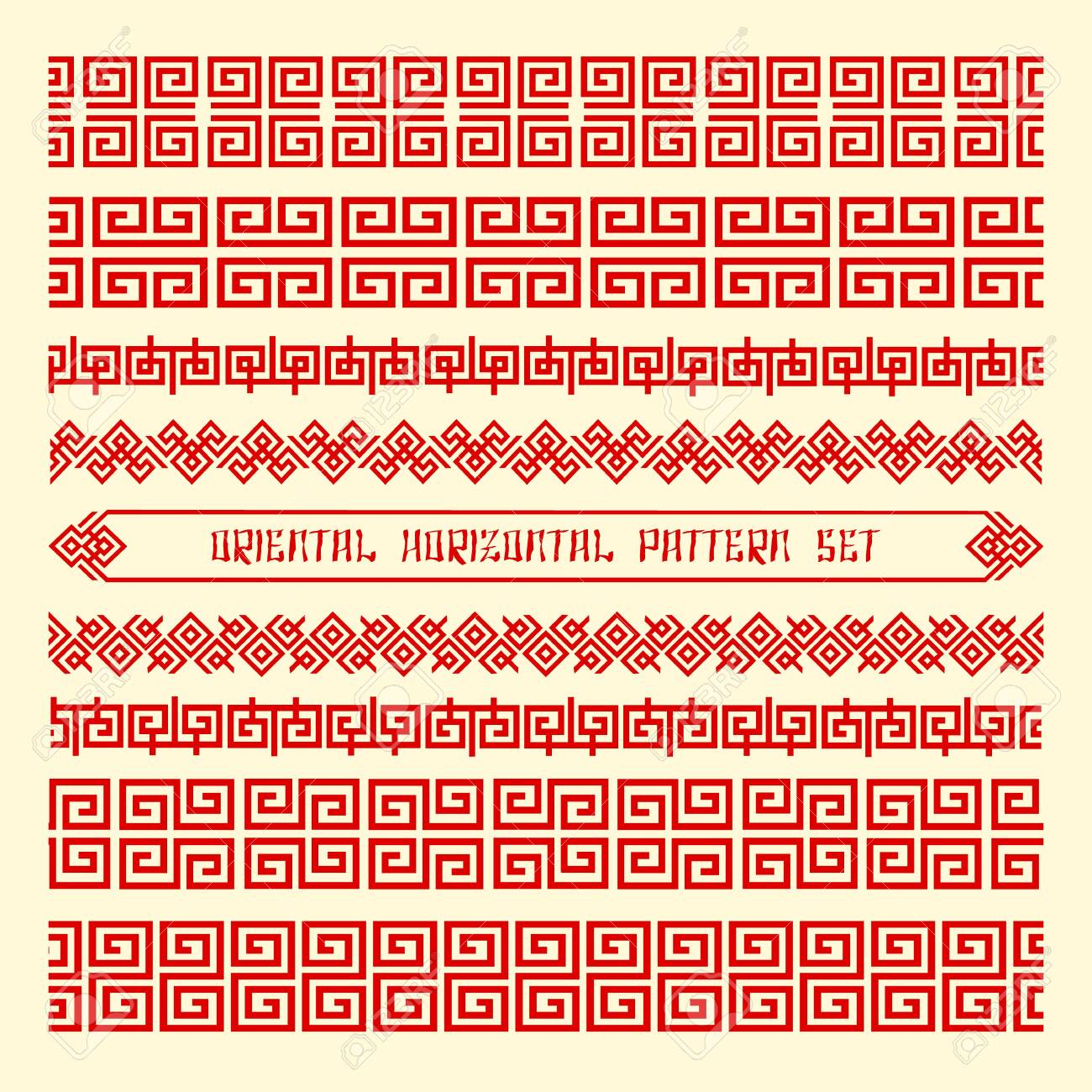 Seamless orientals horizontals patterns. Traditional chinese geometry for borders and frames, elegant antique textures design, vector vintage asia wallpaper with slogan - 148740736