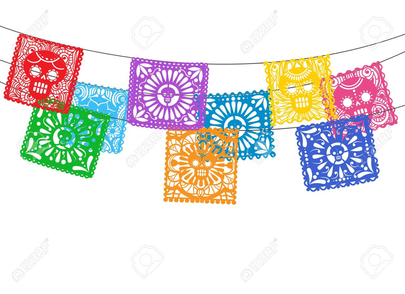Papel picado. Is mexican day of the death cuting paper flags for street garland buntings, bunting ornamental lines - 156933828
