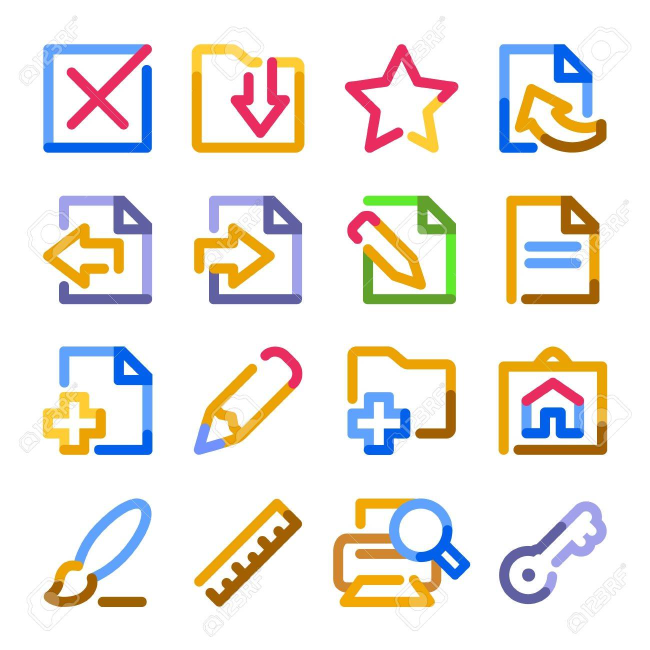 Document icons, set 2. Color contour series. Stock Vector - 9340360
