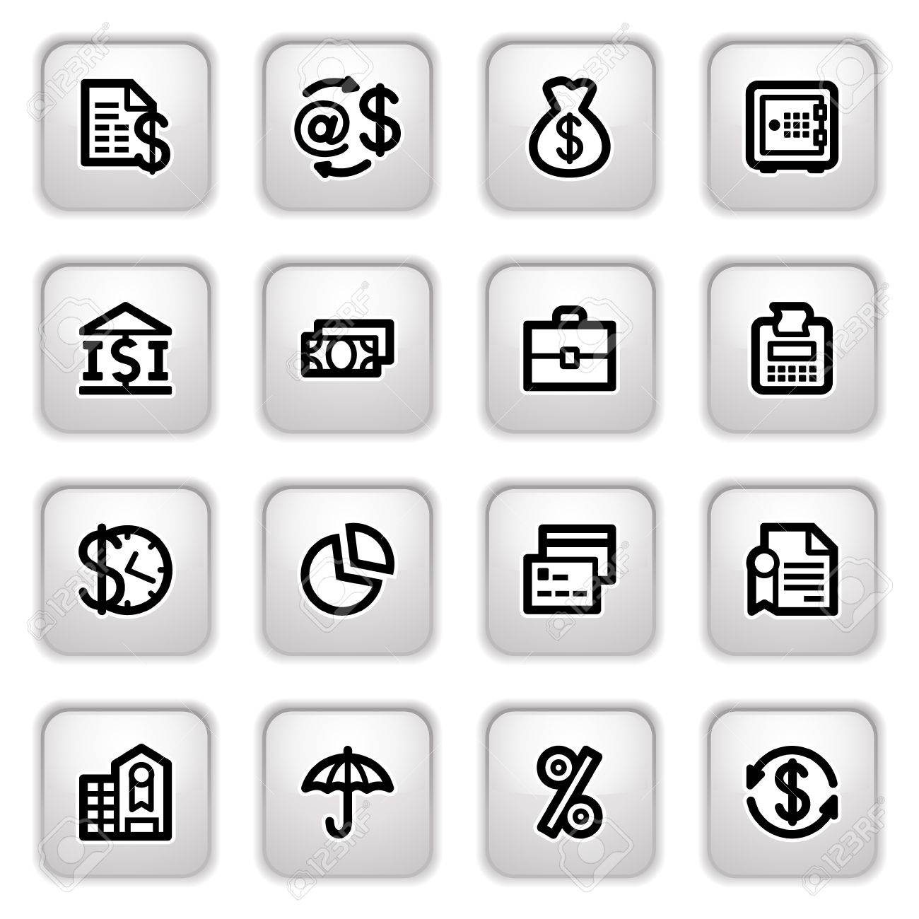 Finance icons on gray buttons. - 9356356