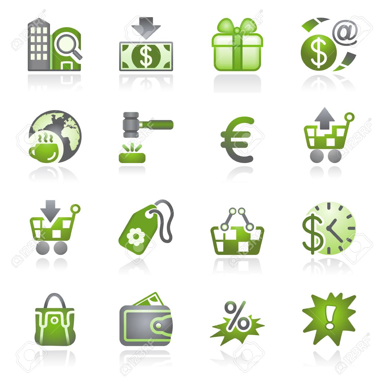 Commerce icons. Gray and green series. Stock Vector - 9356348