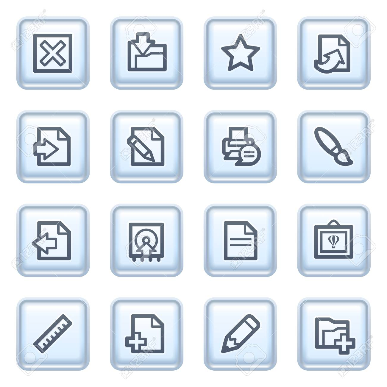 Document icons on blue buttons. Stock Vector - 10342847
