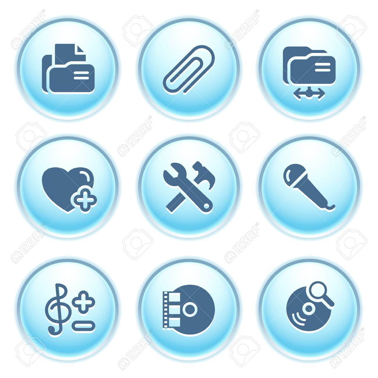 Icons on blue buttons 11 Stock Vector - 10868684