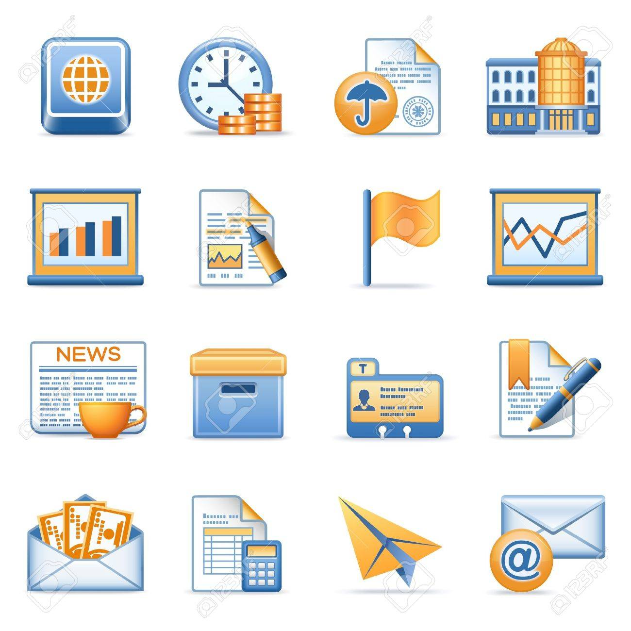 Icons for web blue orange series 5 Stock Vector - 12497979
