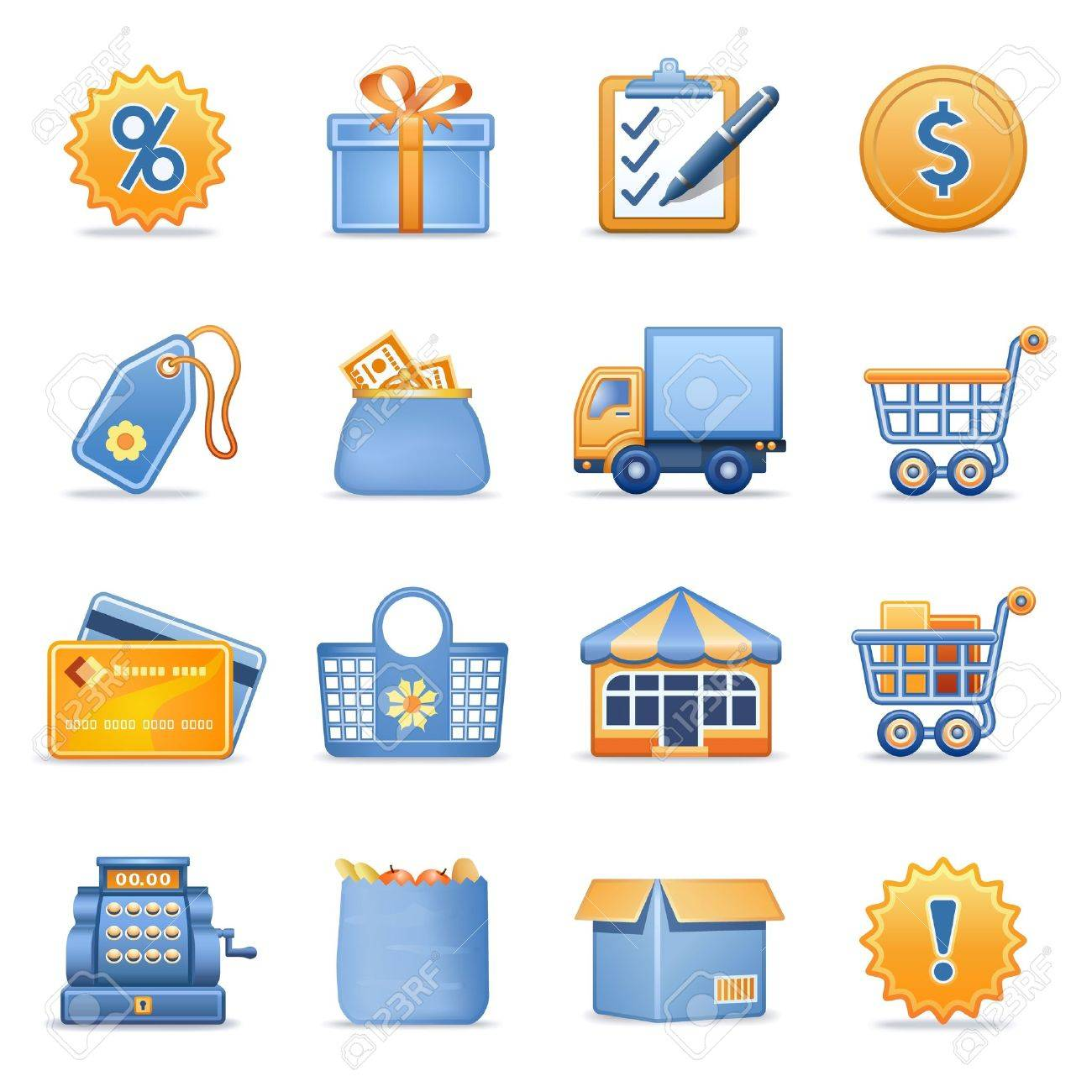 Icons for web blue orange series 6 Stock Vector - 12497949
