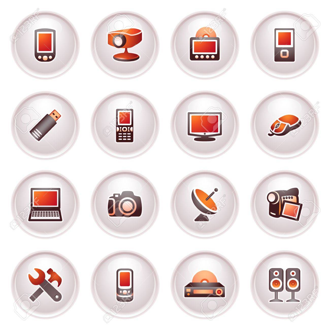 Electronics icons for web Black red series - 12497954