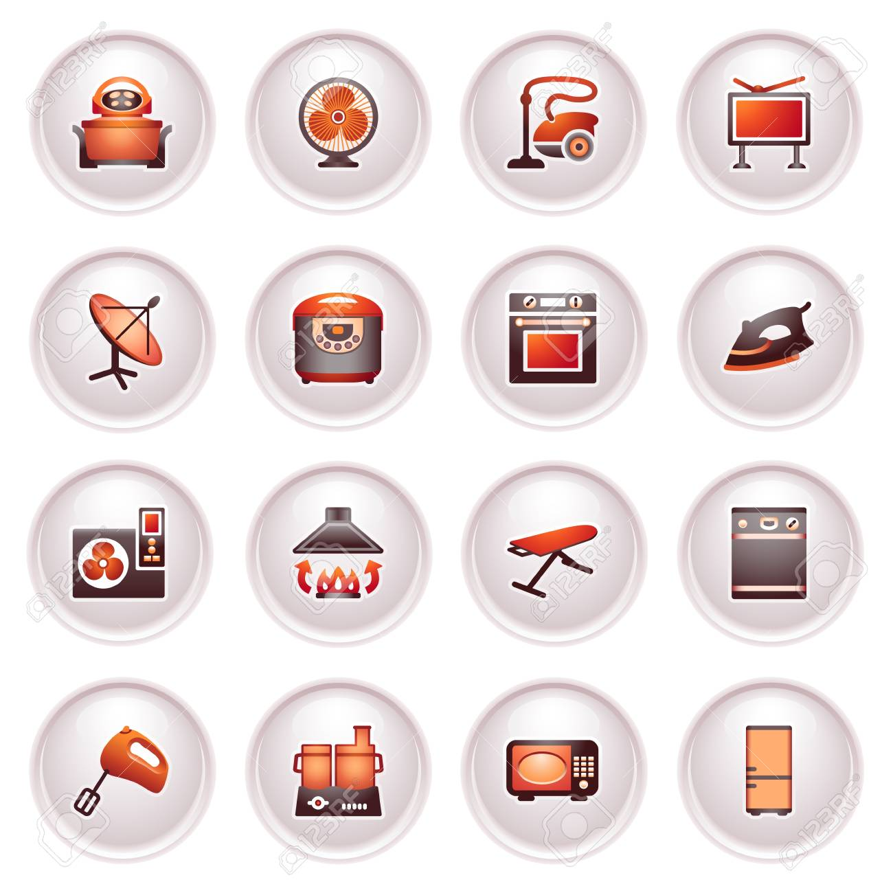 Home appliances, set   Black red series Stock Vector - 12497957