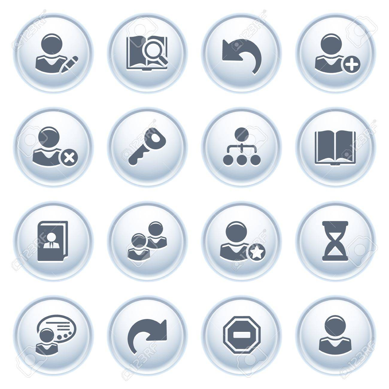 Users web icons on buttons Stock Vector - 12771782