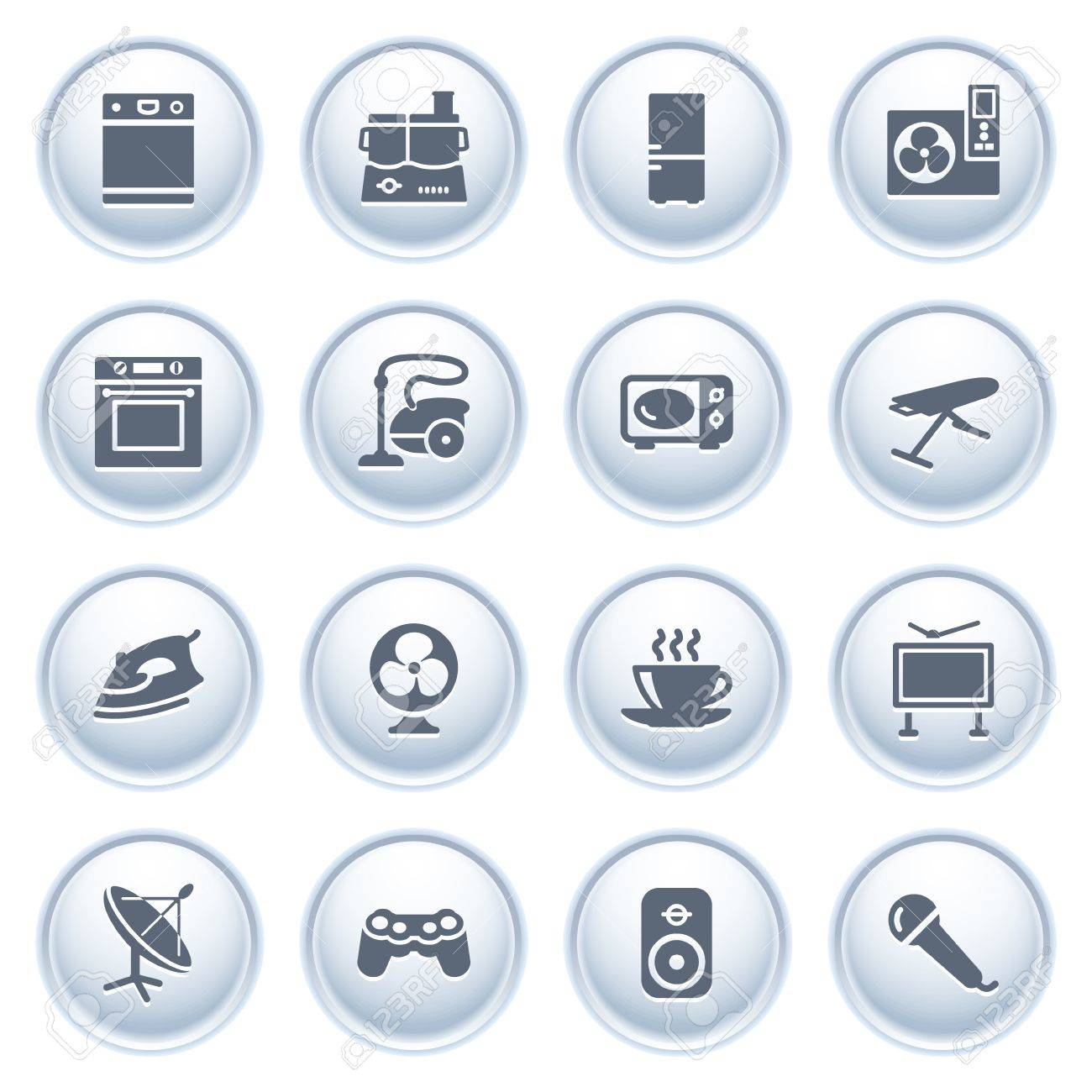 Home appliances icons on buttons, set 2 Stock Vector - 12771796
