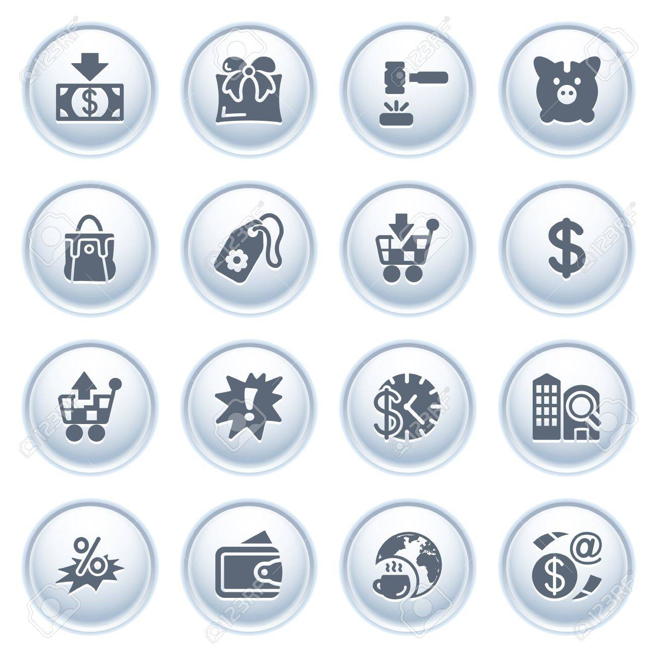 Commerce icons on buttons Stock Vector - 12771804