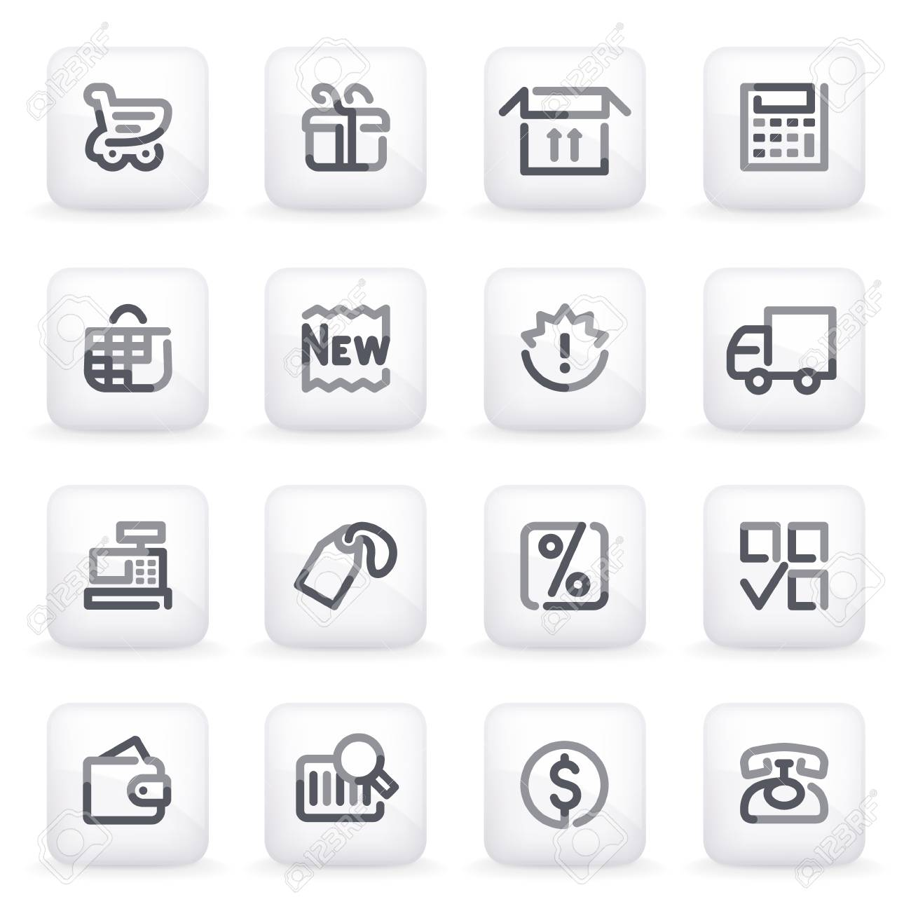 Shopping icons on gray buttons Stock Vector - 13750019