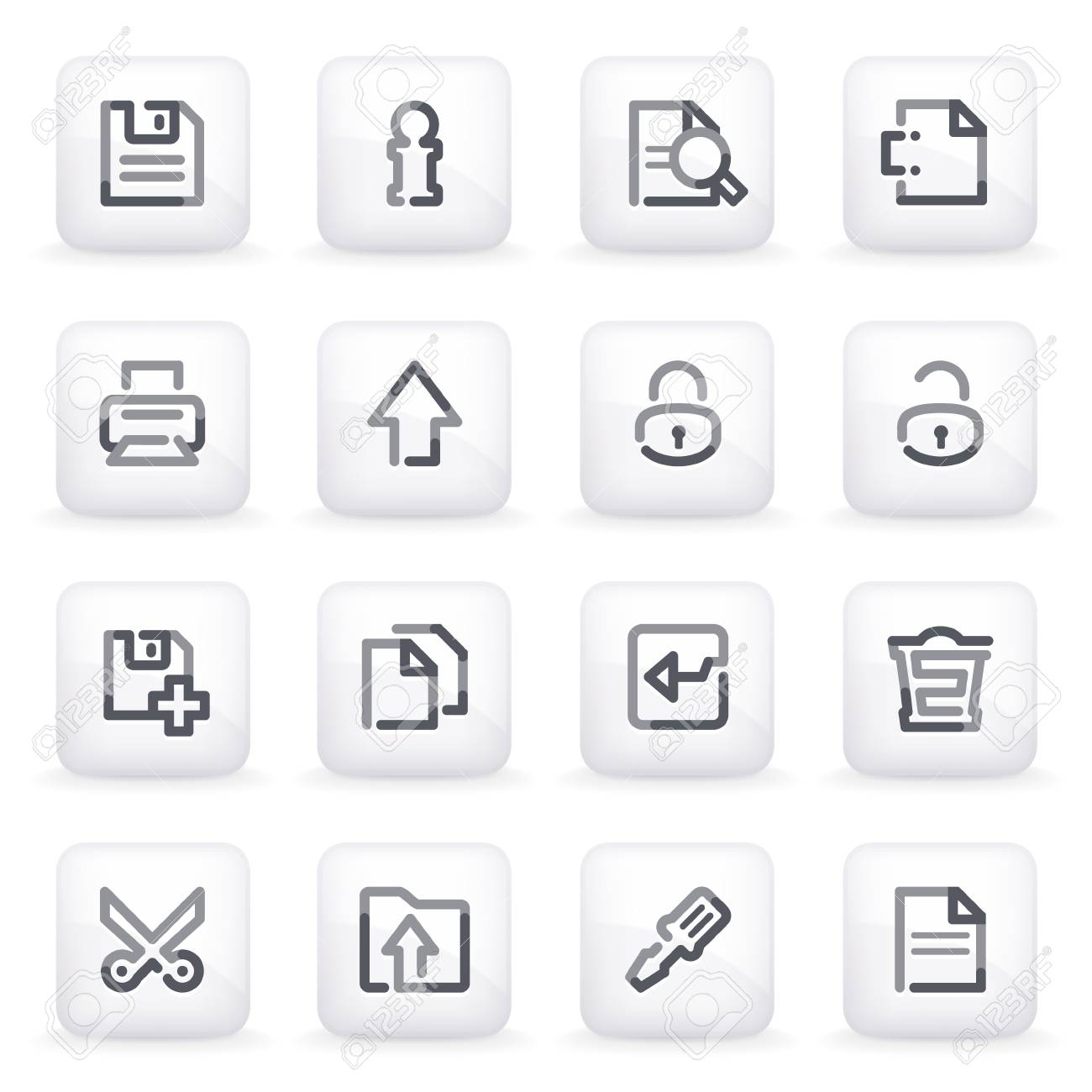 Document icons  on gray buttons Stock Vector - 13750026