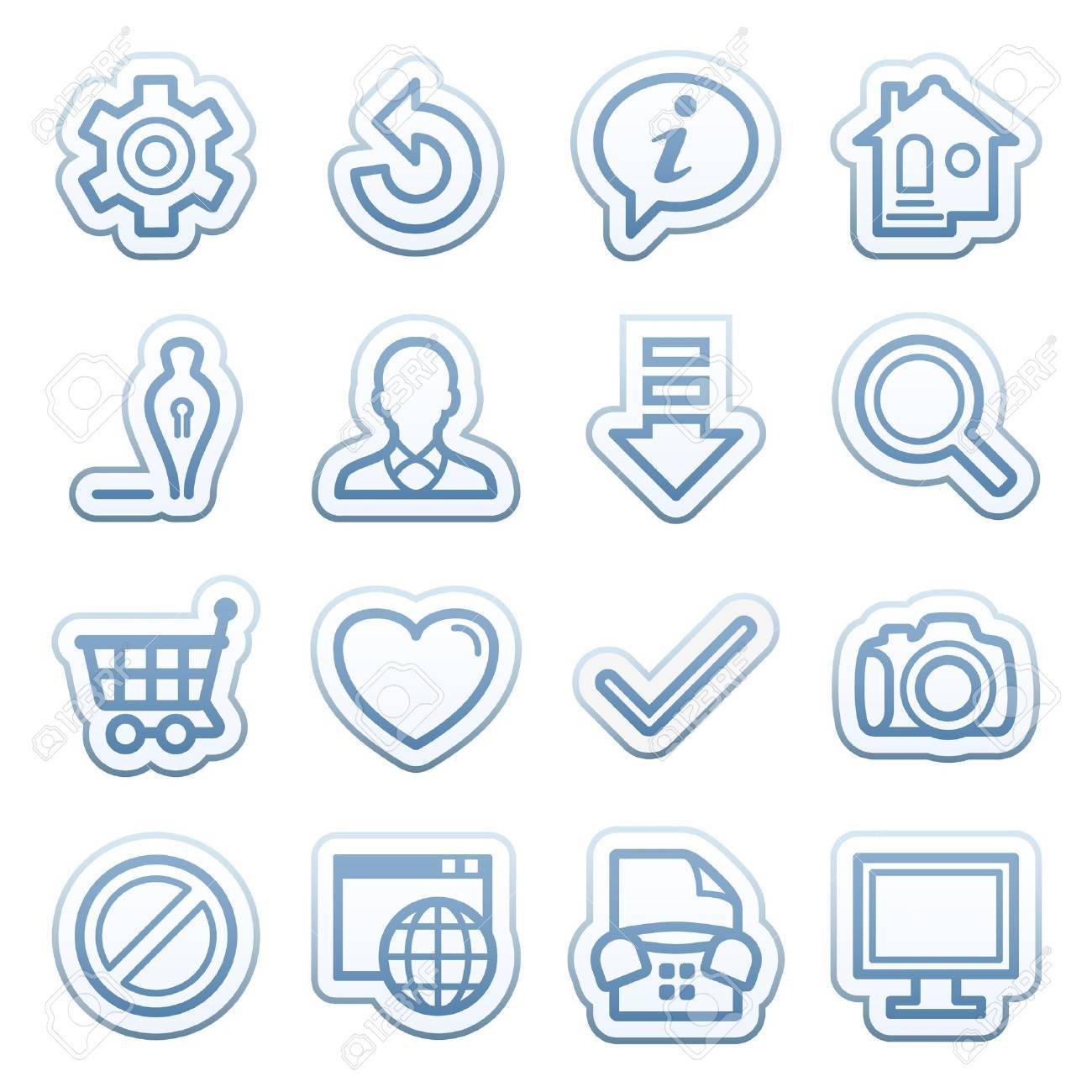 Blue web stickers with icons 1 Stock Vector - 14345148