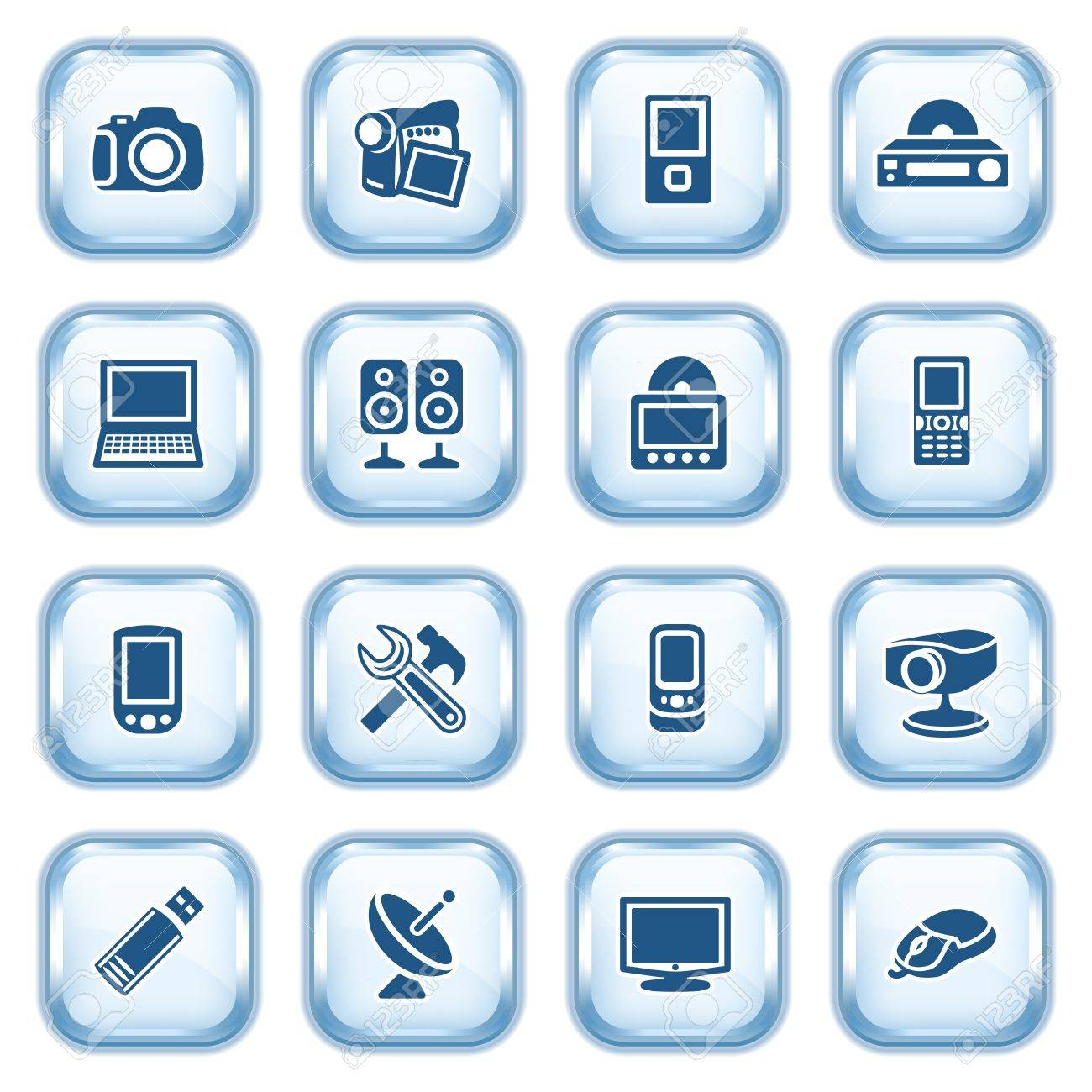 Electronics web icons on glossy buttons Stock Vector - 15173465