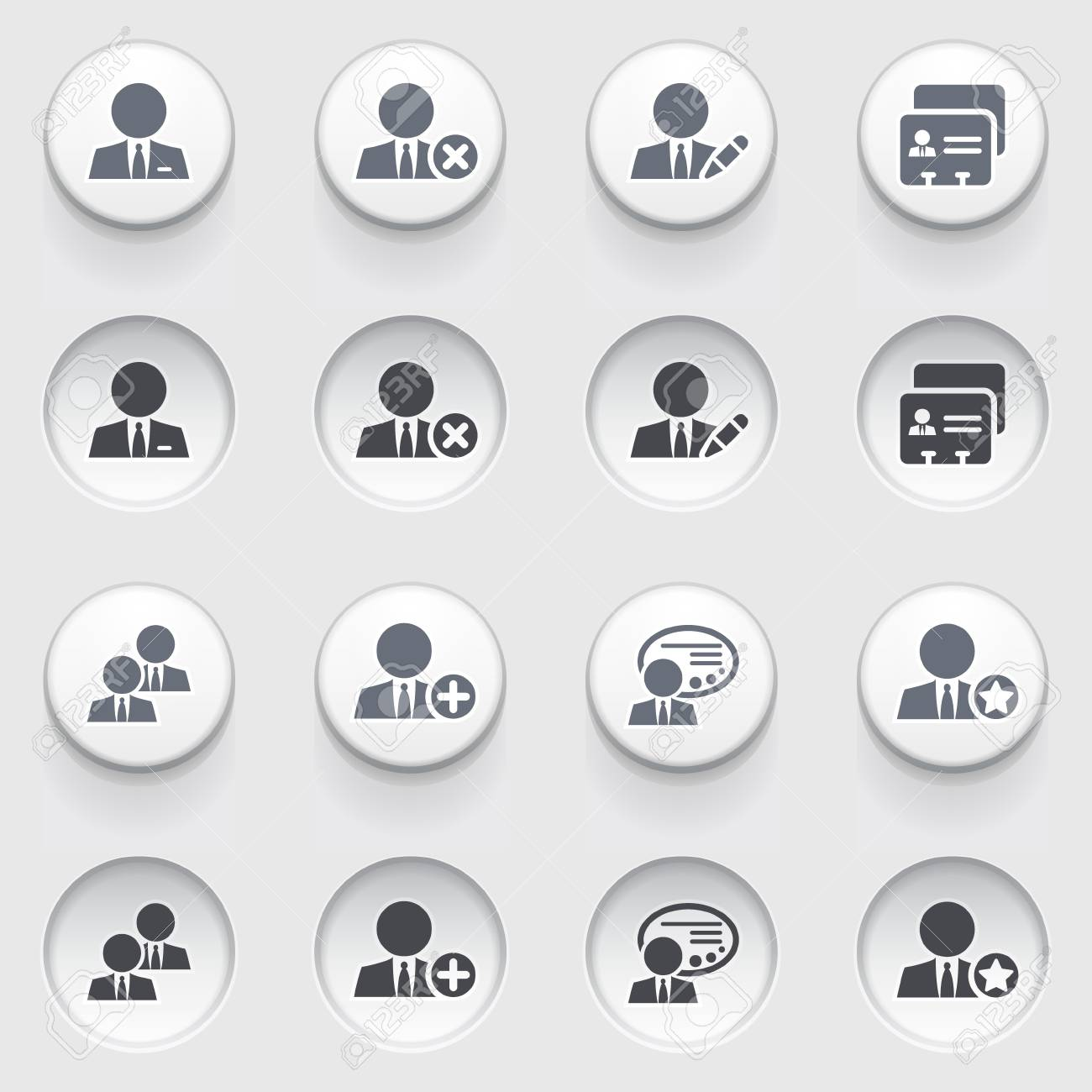 Users web icons on white buttons Stock Vector - 17084280