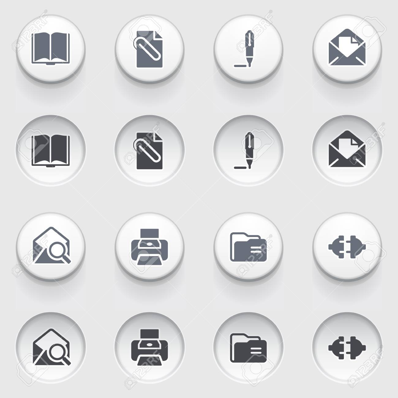 E-mail web icons on white buttons  Set 1 Stock Vector - 17084275