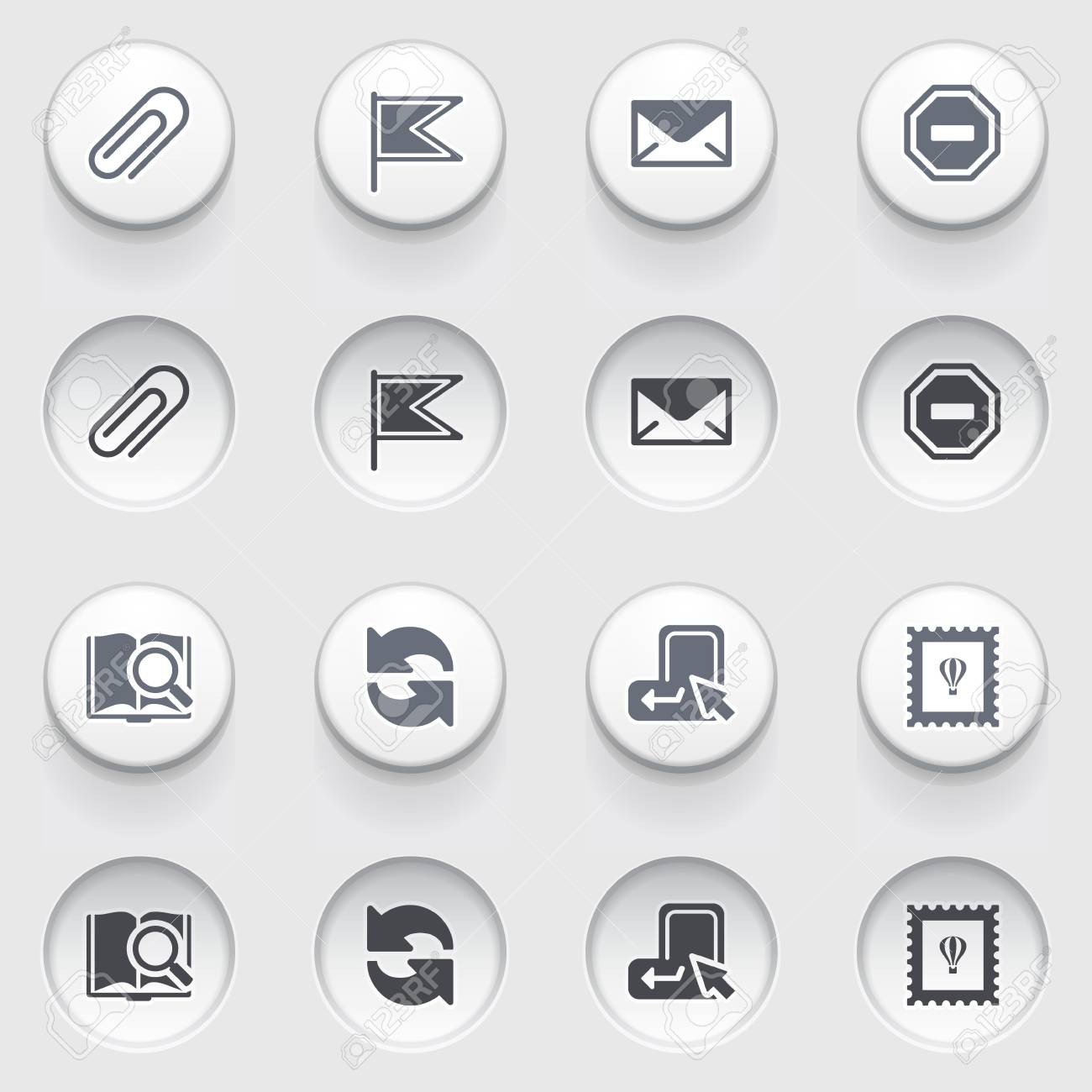 E-mail web icons on white buttons  Set 2 Stock Vector - 17084279