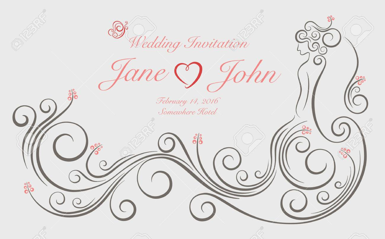 Wedding Invitation Card With Ornate Swirl Graphic Decoration ...