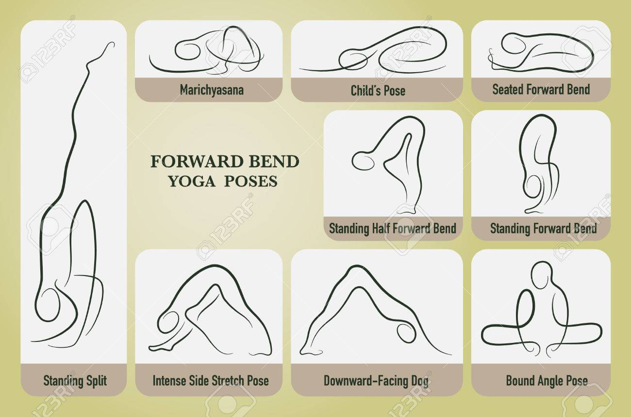 Yoga Forward Bend Poses Set In Gesture Drawing Line With Posture Royalty Free Cliparts Vectors And Stock Illustration Image 53123661