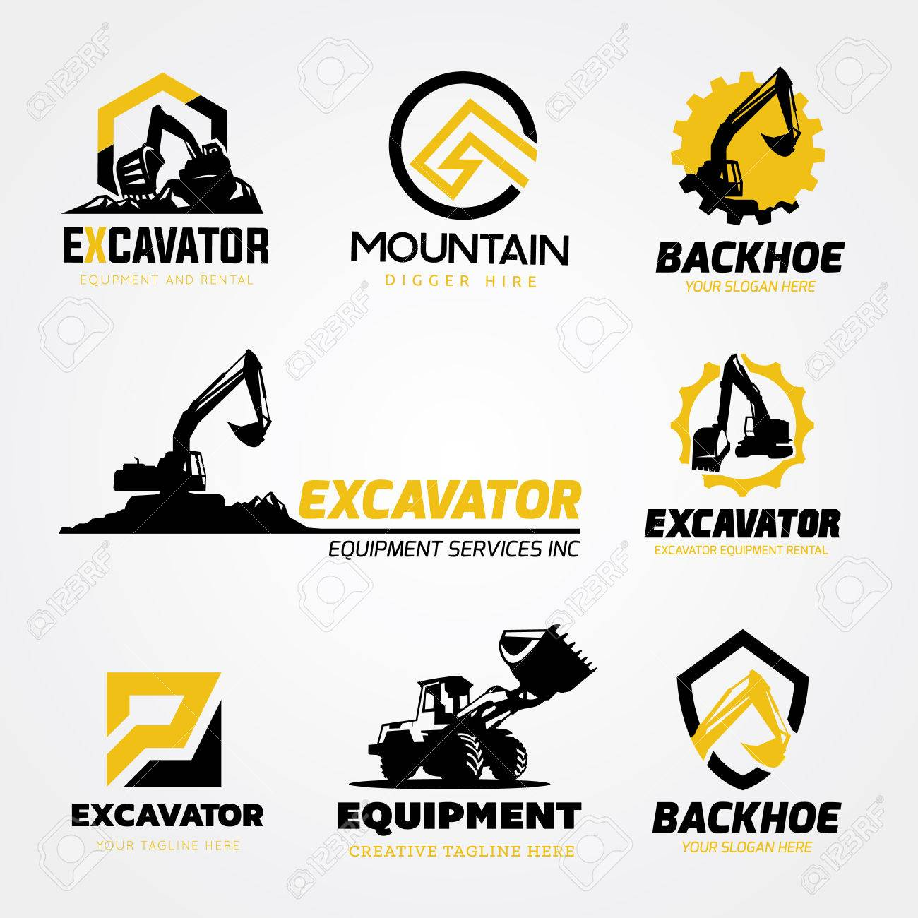 Excavator and backhoe logo collection - 81168598