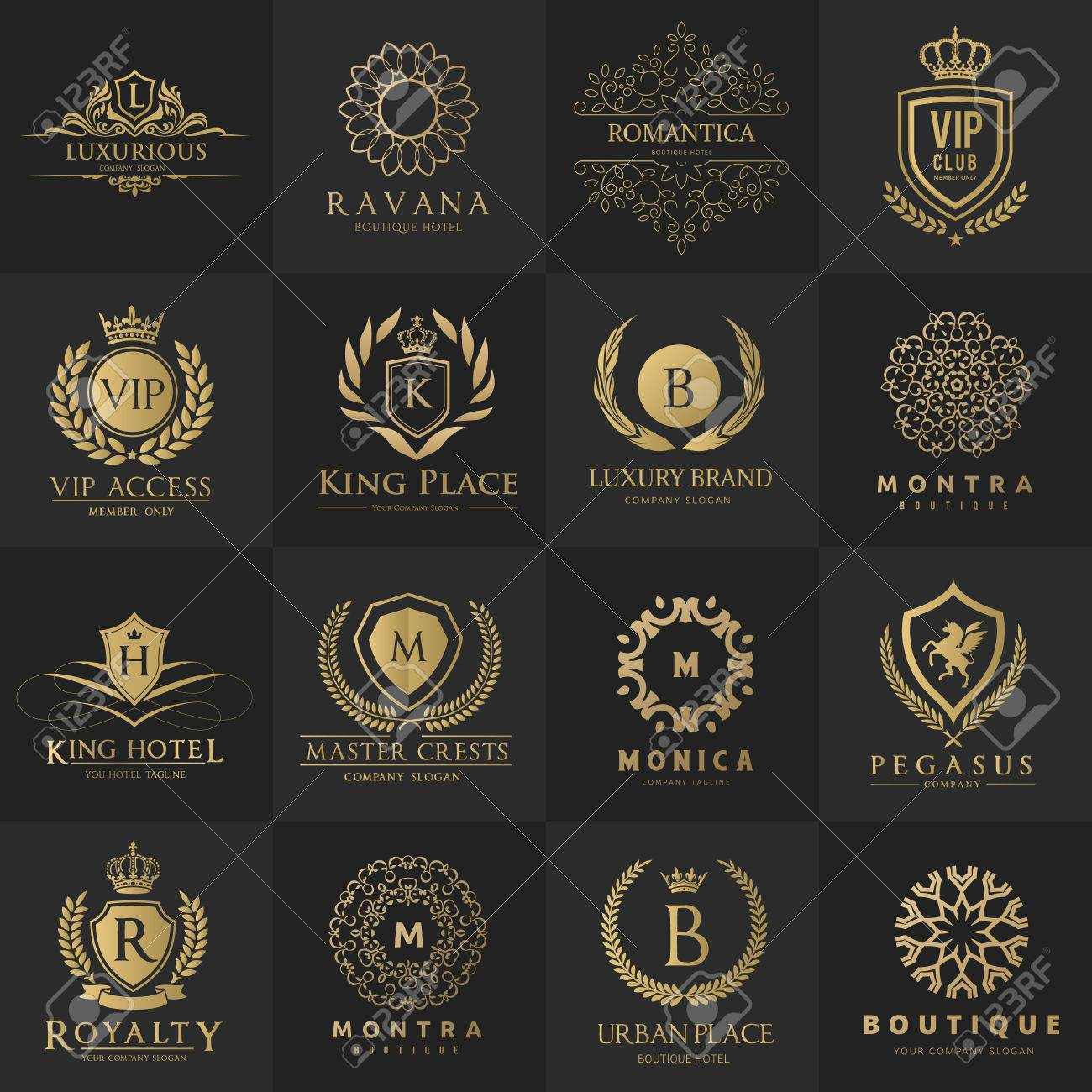 luxury logo hotel logo royalty logo design collection royalty free