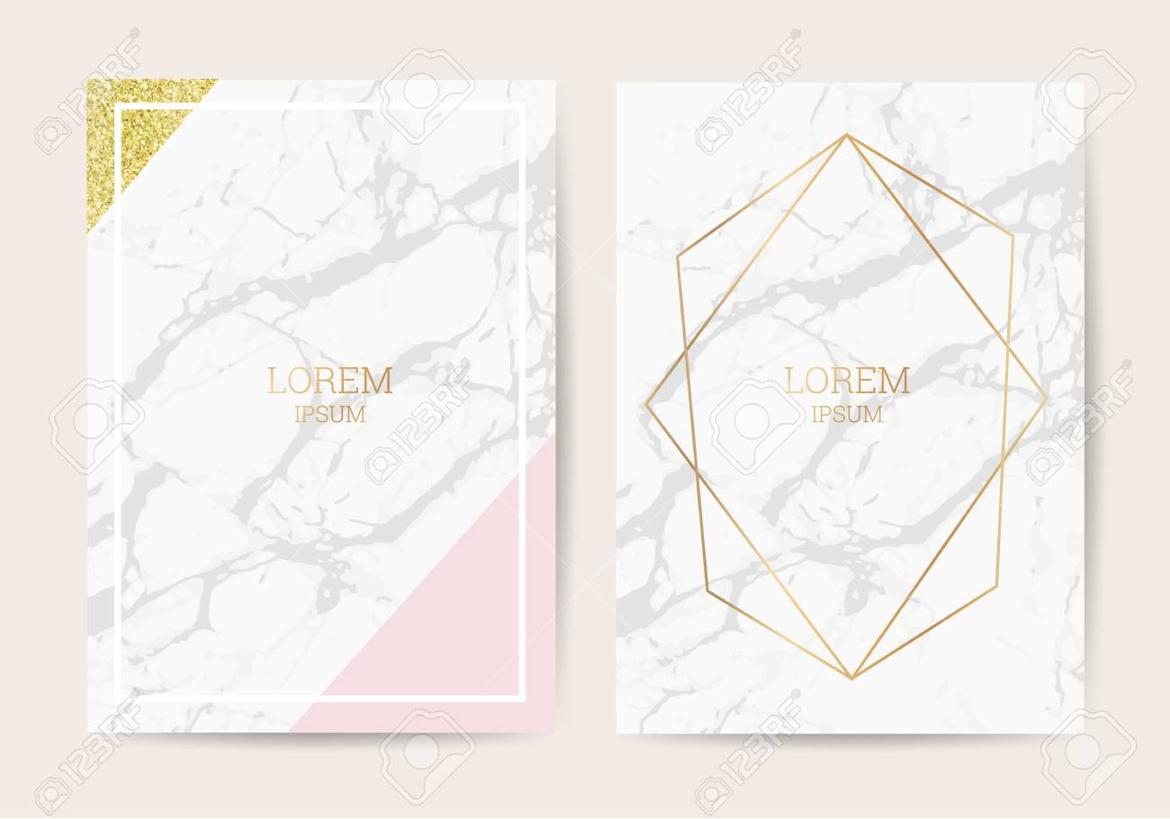 Luxury Wedding Invitation Cards With Gold Marble Texture And