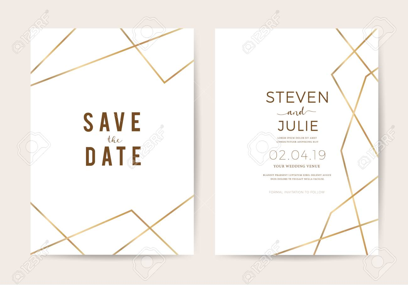Luxury Wedding Invitation Cards With Gold Line Texture Vector