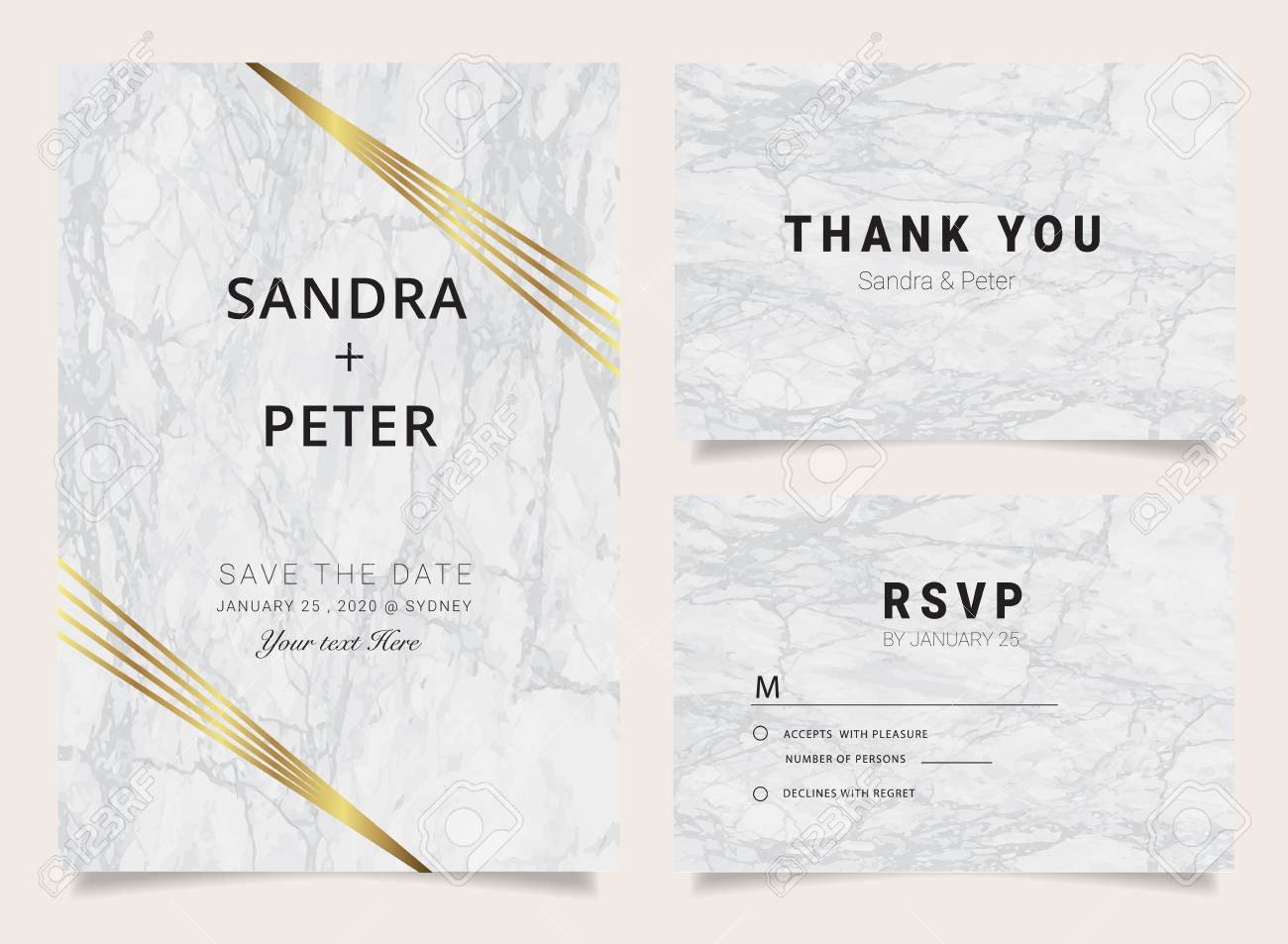 Luxury wedding invitation cards with marble texture and golden imagens luxury wedding invitation cards with marble texture and golden geometric line vector illustration stopboris Image collections